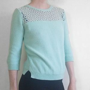 Topshop Crochet Detail Mint Crew Neck Sweater